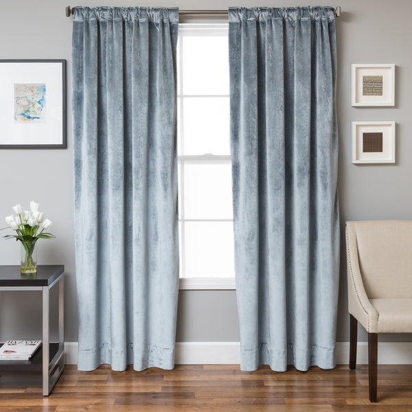 Tantra Velvet Curtain Panel with Lining and Back-tabs - Mist