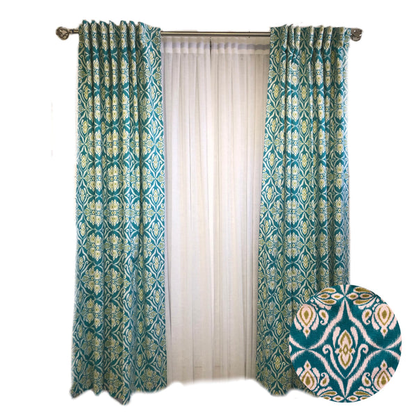 Turquoise and Lime Green Ikat Damask