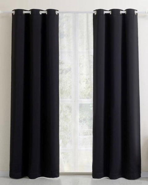 Wide - linen look drapery Panels black 100W x 108L Grommet