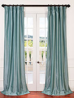 "Exclusive Fabrics & Furnishing Blackout Faux Silk Taffeta Curtain Panel 120"" Long"
