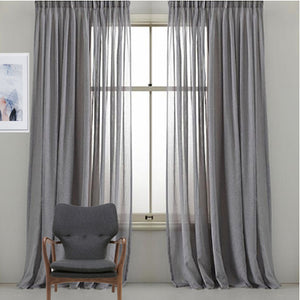 "Pinch pleated sheer panels 90"" long Gray sold as a pair"