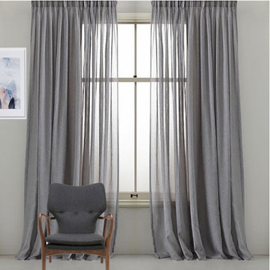 "Inverted Pleated Sheer Panels 150W X 95"" long Gray sold as a pair"
