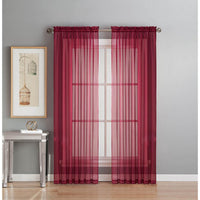 Sheer 54 in. W x 86 L in.  Rod Pocket Extra Wide Curtain Panel in Black, 2 Panels