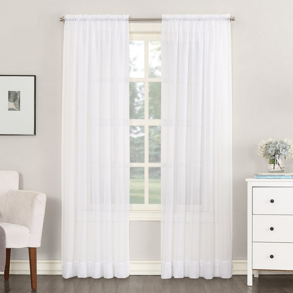 "Carol Sheer Voile Single Curtain Panel, 54"" x 95"" White 2 Panels"
