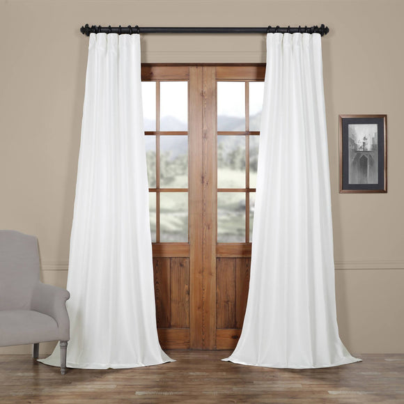 Faux silk taffeta curtains | dupioni silk curtain panels | Lined - 54