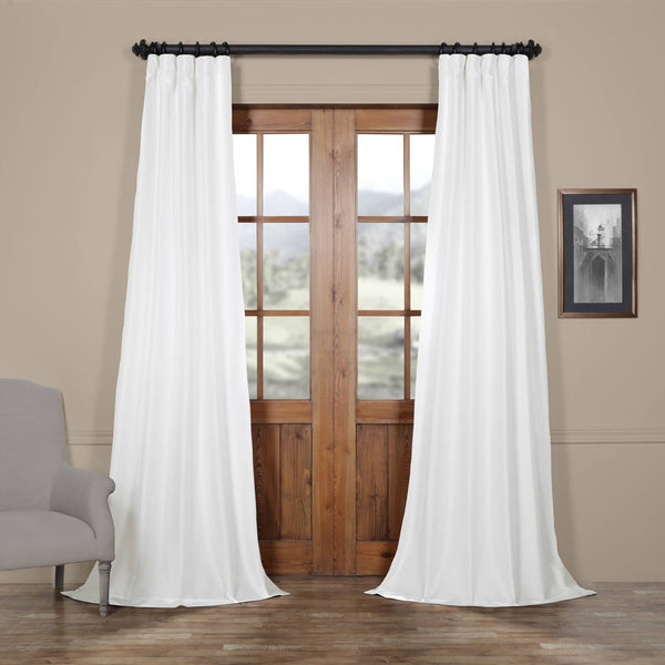 "Faux silk taffeta curtains | dupioni silk curtain panels | Lined - 54""W x 120""H  White"