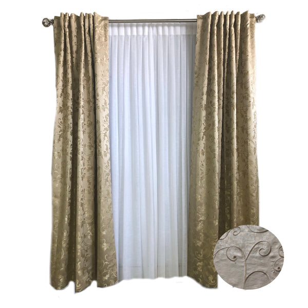 Champagne Vine Leaf Faux Silk Curtain