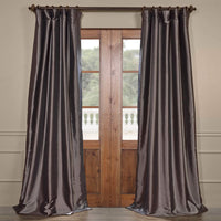 "Exclusive Fabrics & Furnishing Blackout Faux Silk Taffeta Curtain Panel 96"" Long Grey"