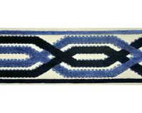 Designer Navy Blue fretwork Trim By the Yard ivory Tape Velvet Embroidered Athena Chinoiserie ribbon Gimp Drapery Home Decor Craft high end