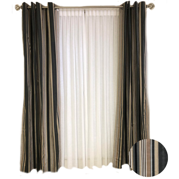 Beige and Black Stripe Curtains 50 X 95L