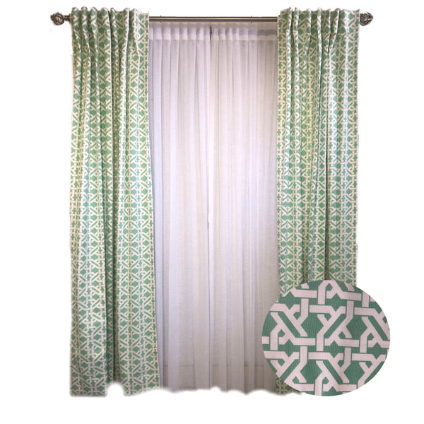 Mint Green Lattice Cotton Print