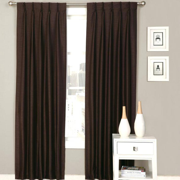 Pinch pleated Lined Drapery panels 150w x 95L espresso sold as a pair