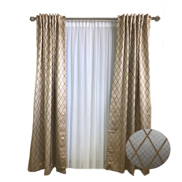 D K Home Gold Diamond Satin woven Curtains
