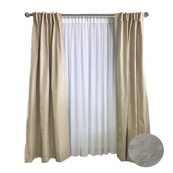 Taupe Faux Silk Curtains