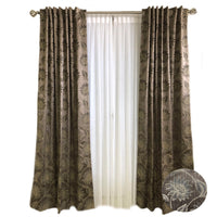 Brown Silk with Ivory Daisy Flower Curtains