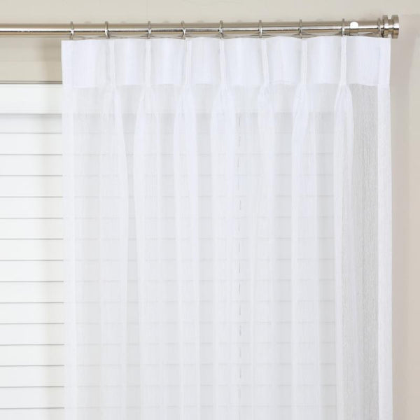 Pinch pleated sheer panels 150w x 95L white sold as a pair