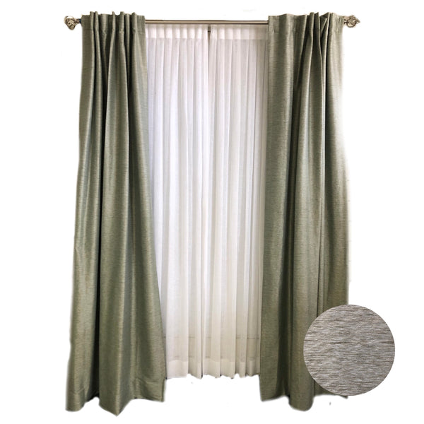 Sage Marled Faux Silk Curtains