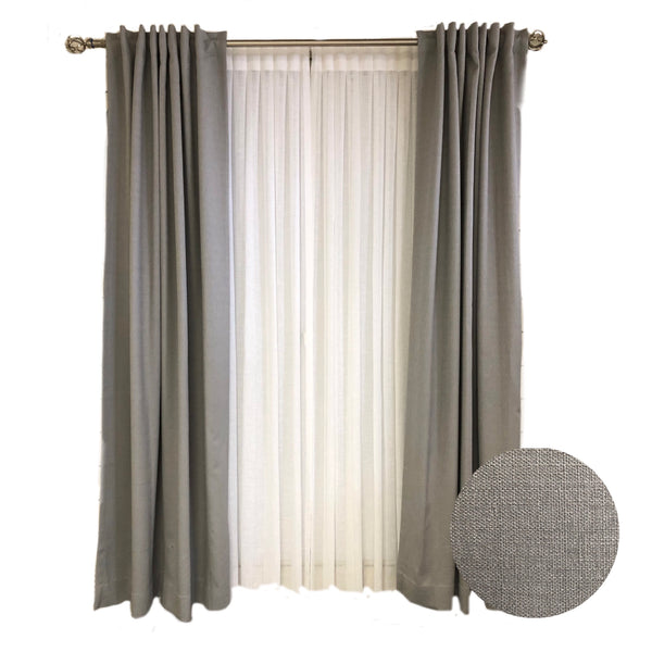 D K Home Grey Linen Tex Curtains