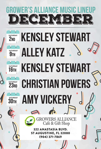 St Augustine live music December calender Growers Alliance