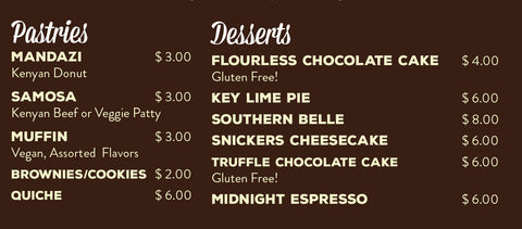 Growers Alliance Cafe Dessert and Pastry Menu St Augustine Florida