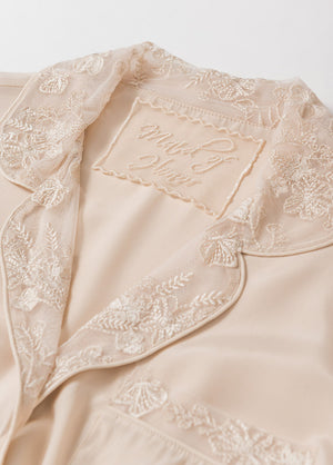 Katelyn Pajama Blouse- Champagne - Robed With Love