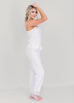 Katelyn Pajama Cami- White - Robed With Love