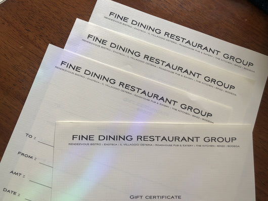 Fine Dining Restaurant Group Gift Certificate