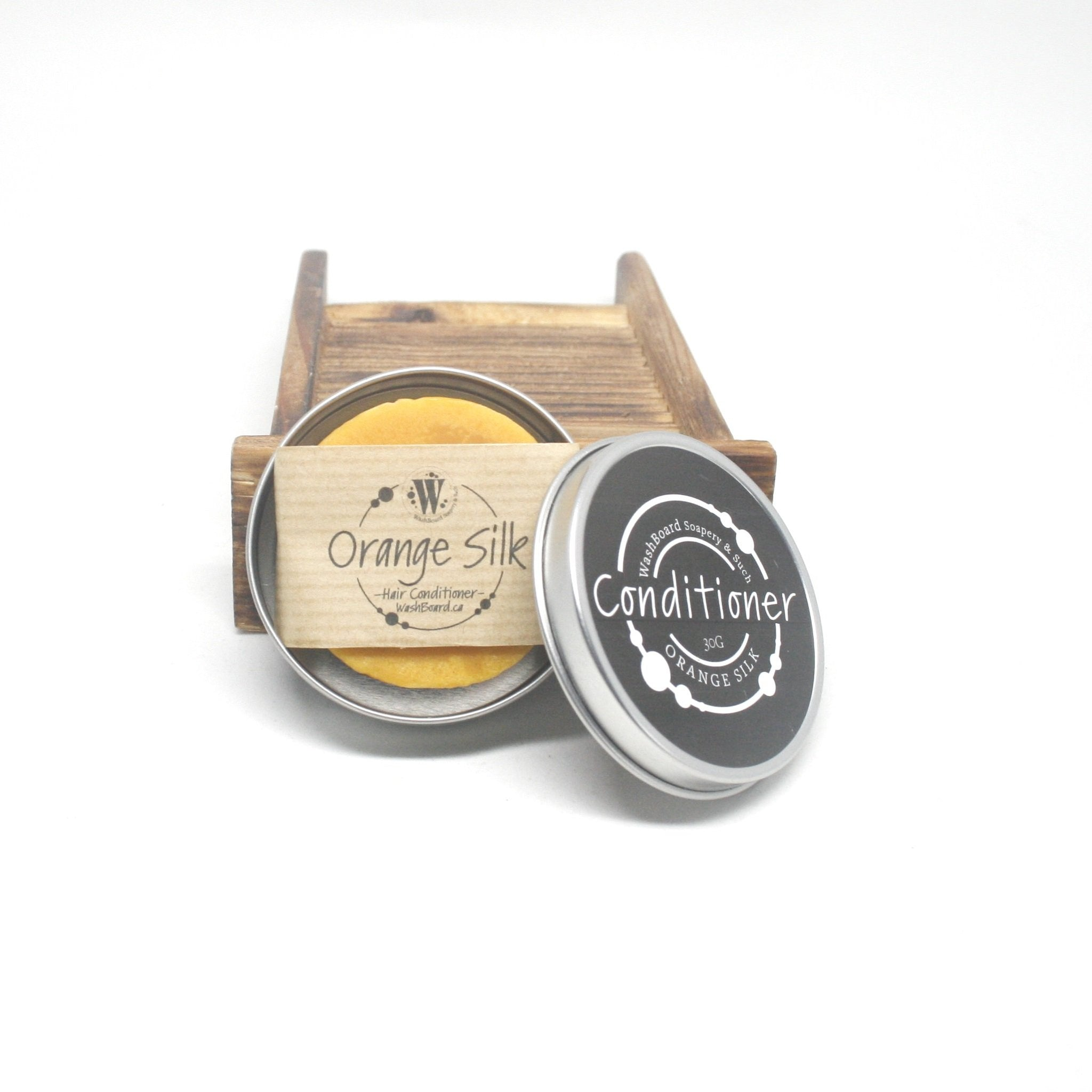 Orange Silk Hair Conditioner Bar in Travel Tin
