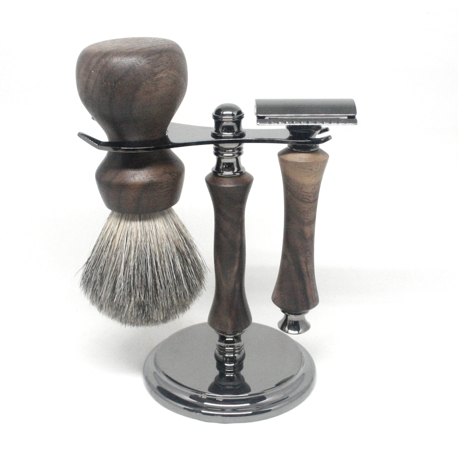 Shaving Set Walnut & MIxed Badger