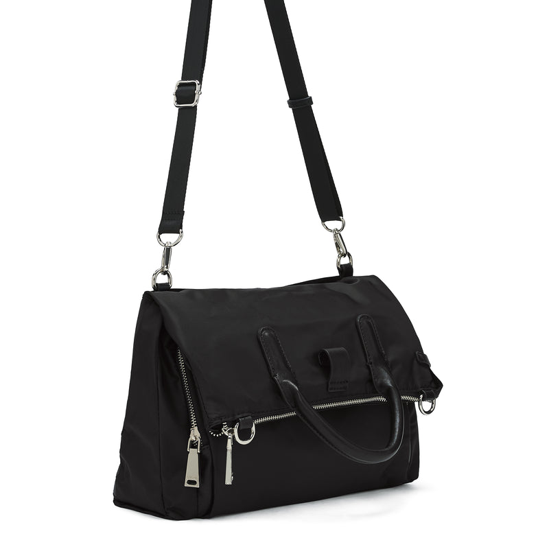 Nylon convertible messenger / backpack - black
