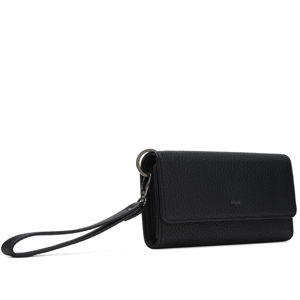 PEBBLE TRI-FOLD WRISTLET - BLACK
