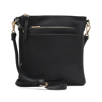 Suede flat crossbody with removable pouch - Black