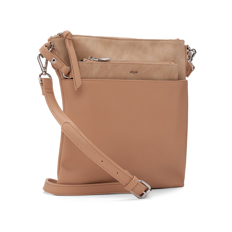 suede flat crossbody - earth