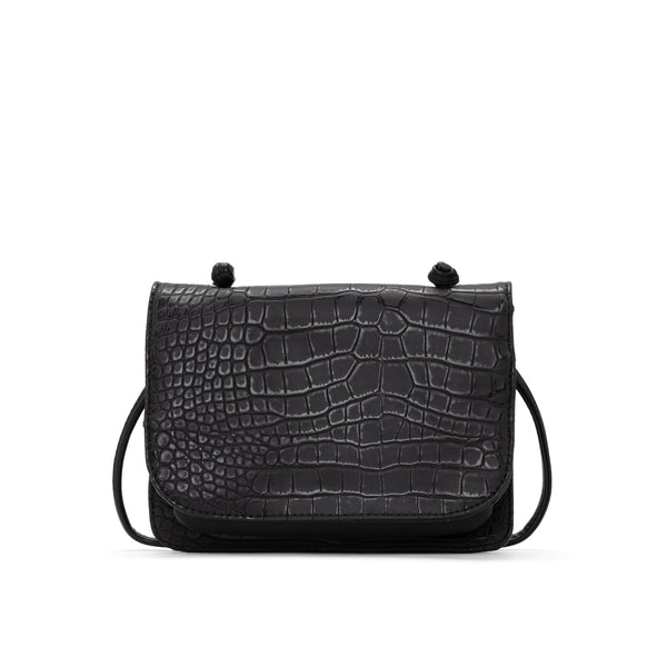 CROCO crossbody carryall - BLACK