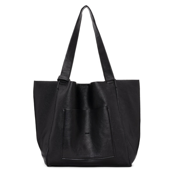 UNLINED PEBBLE LARGE TOTE - BLACK