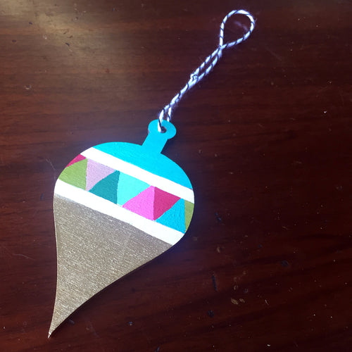 Christmas Kitsch - Bright Geometric Teal Ornament