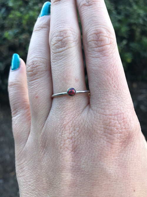 Deep Red Opal Stacking Ring - Ready to Ship - Size 9.75