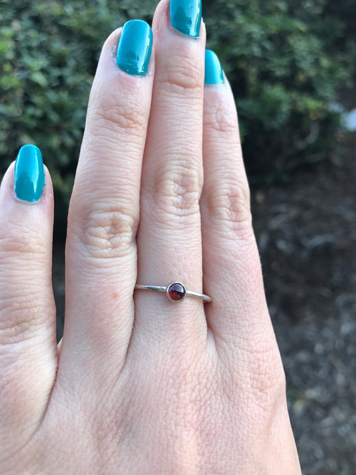 Garnet Stacking Ring - Ready to Ship - Size 8.75