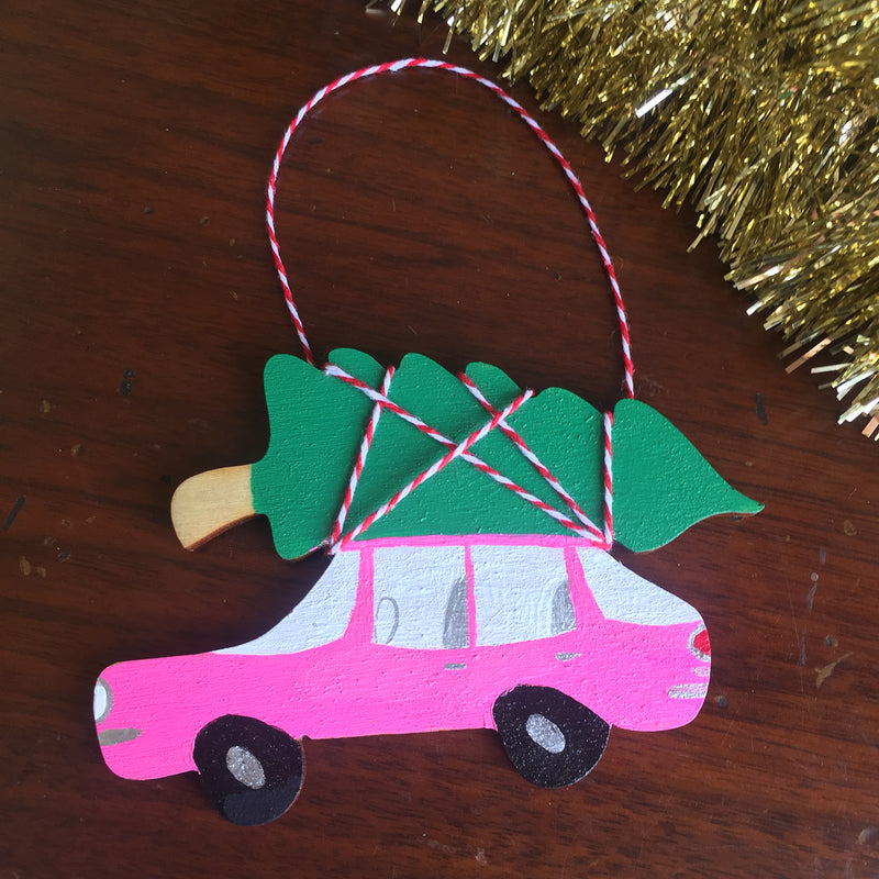 Christmas Kitsch Ornament - Bringing Home the Tree in Pink