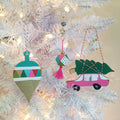 Christmas Kitsch - Bright Geometric Pink Ornament
