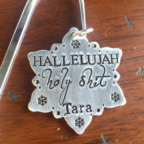 Personalized Christmas Vacation Stocking Tag - Hallelujah Holy Shit