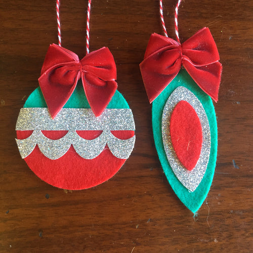 Christmas Kitsch Felt Ornaments in Red & Green