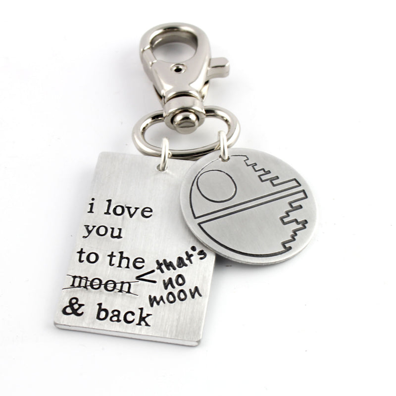 I love you to the moon and back- That's No Moon - Key Chain - Spiffing