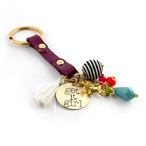 Get it Girl Leather Key Chain - Spiffing