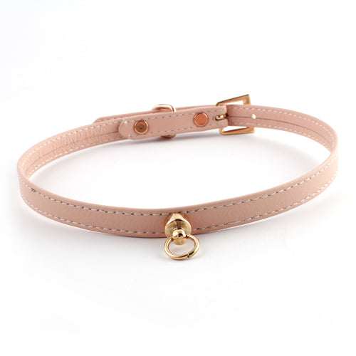 Pale Pink and Rose Gold Leather Choker - Spiffing