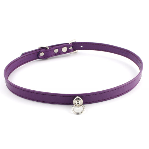 Purple and Silver Leather Choker - Spiffing