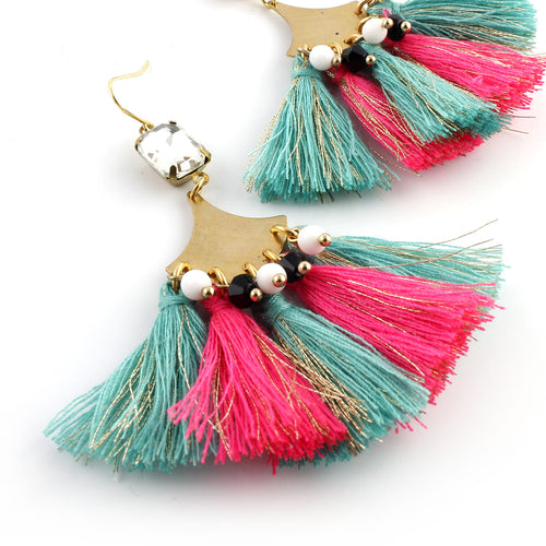 Boho Tassel Earrings - Pink & Aqua