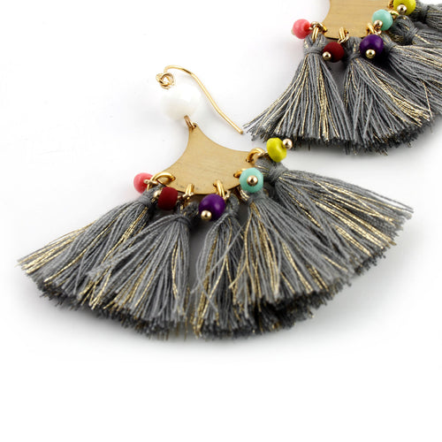 Boho Tassel Earrings - Gray Rainbow - Spiffing