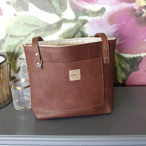 Brown Brittley Small Leather Tote - Spiffing