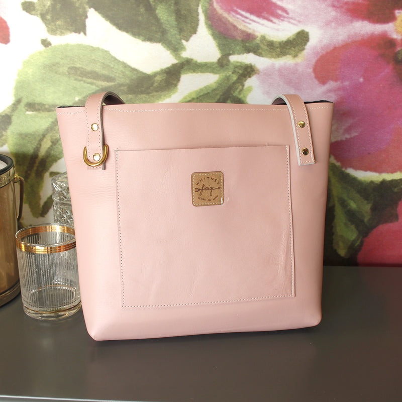 Pale Pink Brittley Small Leather Tote - Spiffing